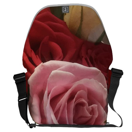 Roses Close Up Print Large Messenger Bag