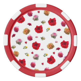 roses collage on white background poker chips