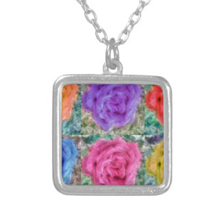 Roses Collage Silver Plated Necklace