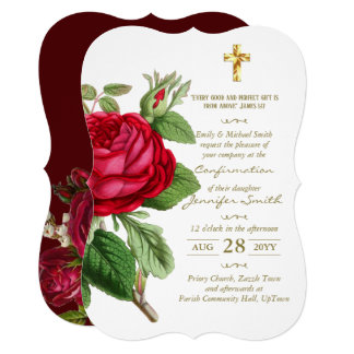 Roses Confirmation Invitations  - or Communion