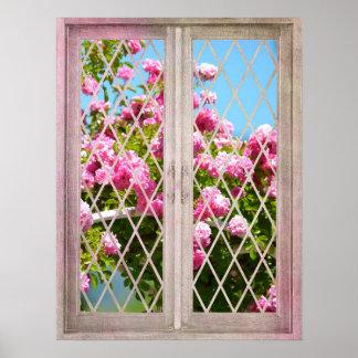 Roses dans la fenêtre poster