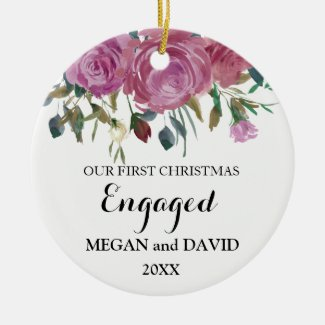 Roses elegant First Christmas Engaged or married Ceramic Ornament