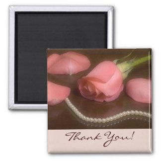 Roses et perles, Merci ! Magnet Carré