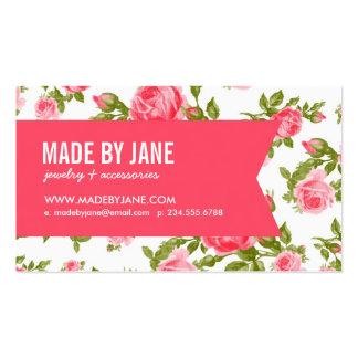 Roses et ruban floraux vintages élégants chics Gir Modèle De Carte De Visite