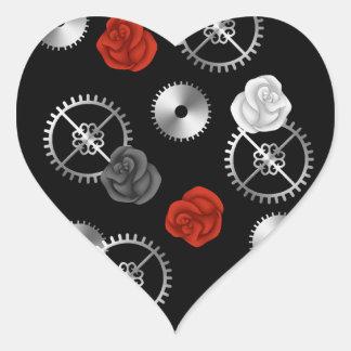 Roses et vitesses de victorian de steampunk de sticker cœur