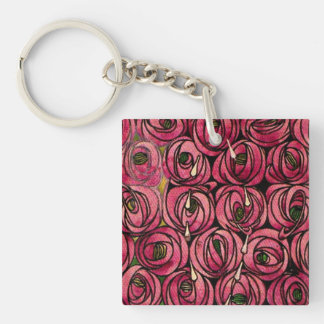 Roses, fine art painting by Charles Mackintosh Keychain