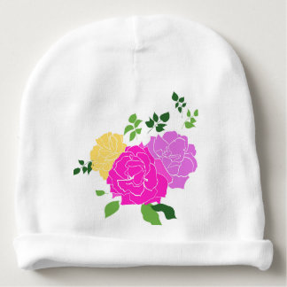 Roses flowers baby beanie