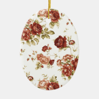 Roses flowers nature Bordeaux pink knows green Ceramic Oval Ornament