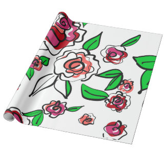 Roses flowers wrapping paper