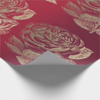 Roses Foxier Gold Pearly Metallic Floral Red Wine Wrapping Paper