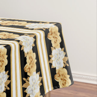 Roses gold white black bouquets stripes tablecloth