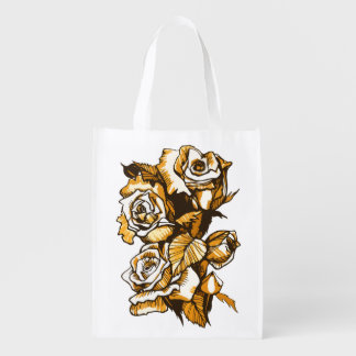 Roses, graphic floral art, blooming rose flowers reusable grocery bag