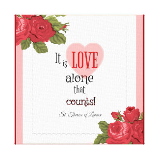 Roses Hearts Love St. Therese Leaves Canvas Print
