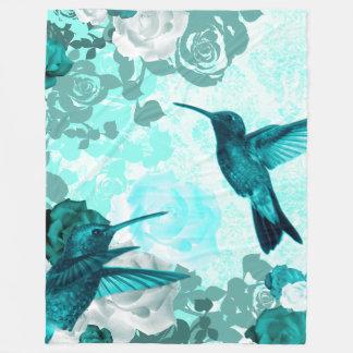Roses & Humming Birds Fleece Blanket