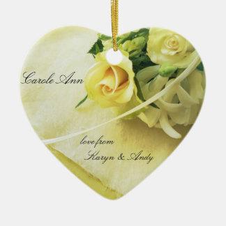 Roses, hyacinths, old handwriting heart ceramic heart ornament