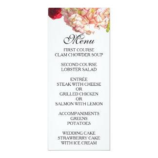 "Roses & Hydrangea Garden Floral Wedding Menu 4"" X 9.25"" Invitation Card"