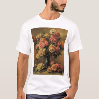 Roses in a Vase by Pierre Renoir, Vintage Fine Art T-Shirt