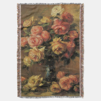 Roses in a Vase by Pierre Renoir, Vintage Fine Art Throw Blanket