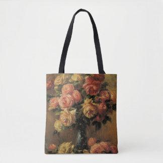 Roses in a Vase by Pierre Renoir, Vintage Fine Art Tote Bag