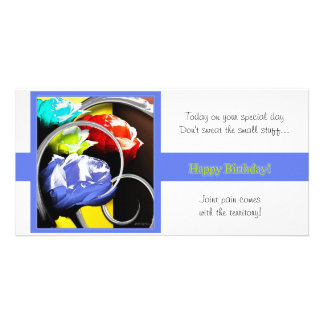 Roses in Abstract Happy Birthday Photo Card