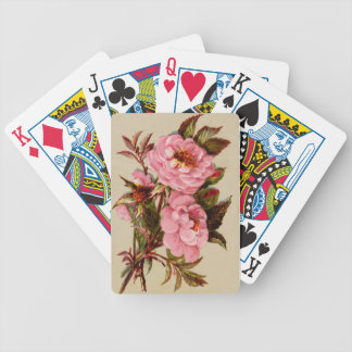 Roses in antique design bicycle playing cards