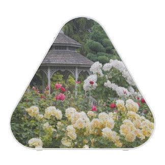 Roses in bloom and Gazebo Rose Garden at the Blueooth Speaker