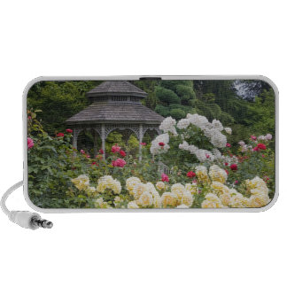 Roses in bloom and Gazebo Rose Garden at the Portable Speakers
