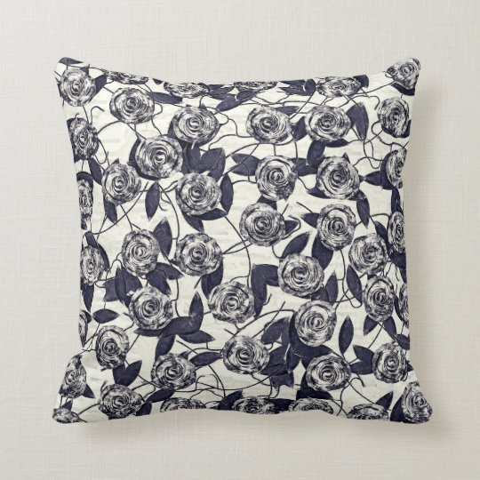 Roses in Bluem Throw Pillow