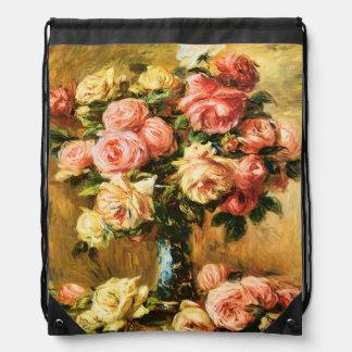 Roses in the Vase Renoir Fine Art Drawstring Bag