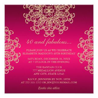 ROSES INDIEN ET ANNIVERSAIRE INSPIRÉ INDIEN D OR INVITATIONS PERSONNALISÉES