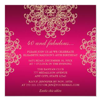ROSES INDIEN ET ANNIVERSAIRE INSPIRÉ INDIEN D'OR INVITATIONS PERSONNALISÉES