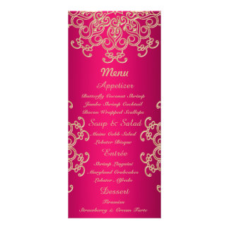 Roses indien et cartes indiennes de menu de style  cartes doubles customisables