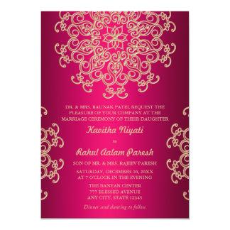 ROSES INDIEN ET FAIRE-PART DE MARIAGE INDIEN DE CARTON D'INVITATION  12,7 CM X 17,78 CM