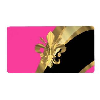 Roses indien et gold fleur de lys étiquette d'expédition