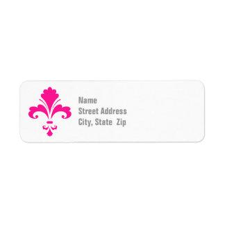 Roses indien Fleur-De-lis Étiquette D'adresse Retour