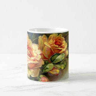 Roses jaunes tasses à café