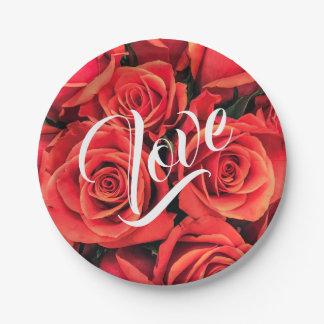 Roses Love Paper Plate