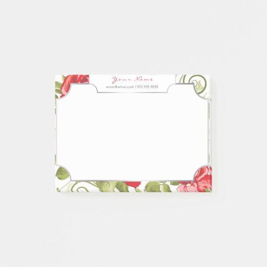 Roses Mint  Floral Magic Garden Watercolor Pink Post-it Notes