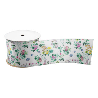 Roses, Moth Orchids, Lilies - Green Pink Blue Satin Ribbon