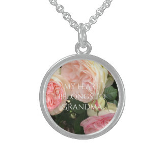Roses My Heart Belongs to Grandma Sterling Silver Necklace