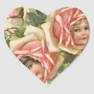 Roses n' Cherubs Heart Sticker