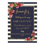 Roses Navy Stripes and Gold Maid of Honour Invites