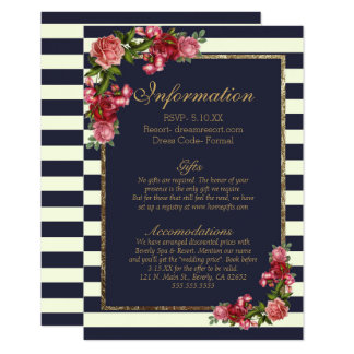 Roses Navy Stripes and Gold Wedding Information Card