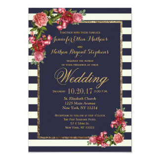 Roses Navy Stripes and Gold Wedding Invitations