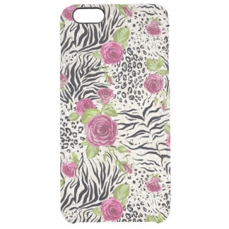 Roses On Animal Pattern Clear iPhone 6 Plus Case