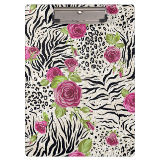 Roses On Animal Pattern Clipboards