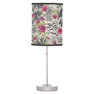 Roses On Animal Pattern Desk Lamps