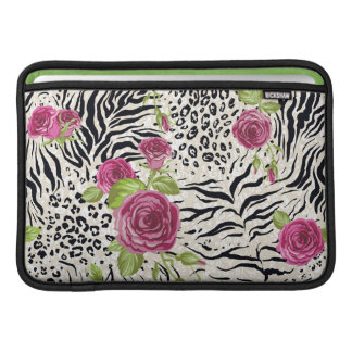 Roses On Animal Pattern MacBook Air Sleeves