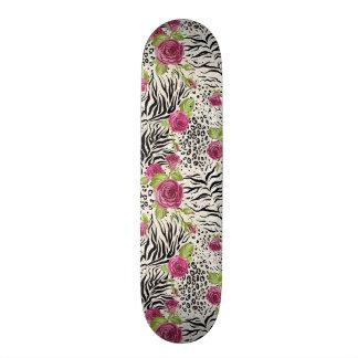 Roses On Animal Pattern Skateboard Decks