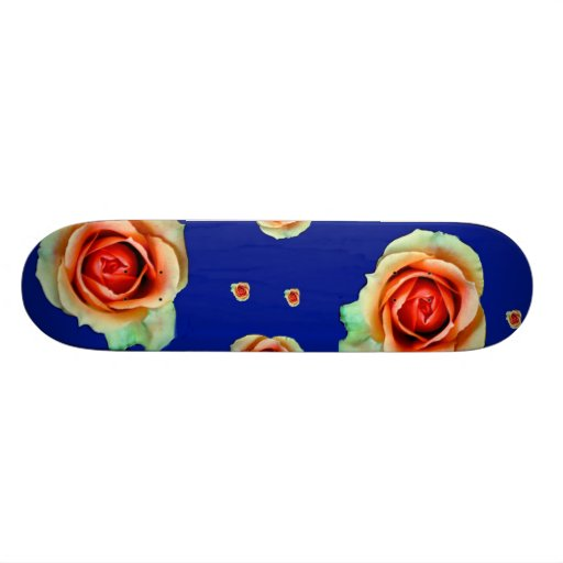 Roses on Blue Skateboard
